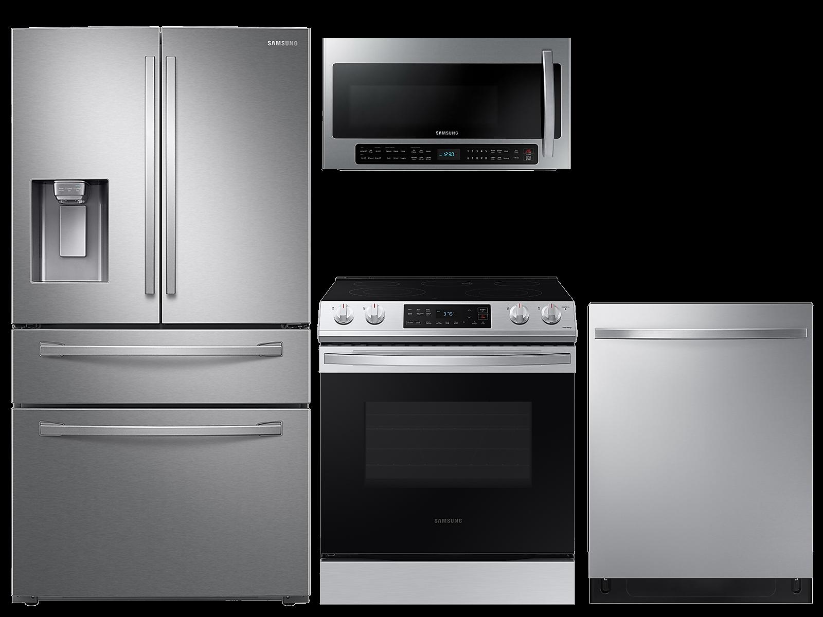 Samsung coupon: Samsung 28 cu. ft. 4-door refrigerator, 6.3 cu. ft. electric range, 2.1 cu. ft. microwave and 48 dBA modern-look dishwasher package