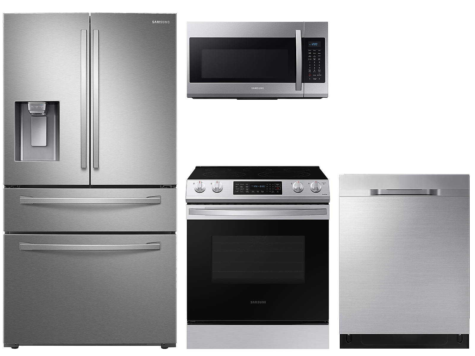 Samsung coupon: Samsung 23 cu. ft. counter depth 4-door refrigerator, 6.3 cu. ft. electric range, microwave and 48 dBA dishwasher package(BNDL-1614004843395)