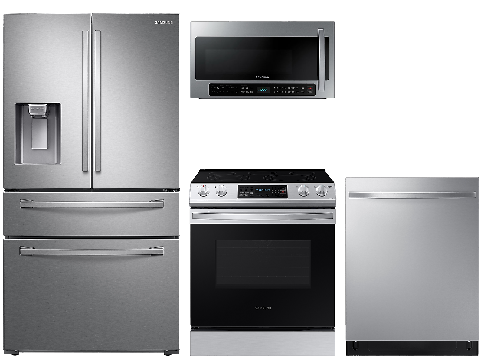 Samsung coupon: Samsung 23 cu. ft. counter depth 4-door refrigerator, 6.3 cu. ft. electric range, 2.1 cu. ft. microwave and 48 dBA modern-look dishwasher package
