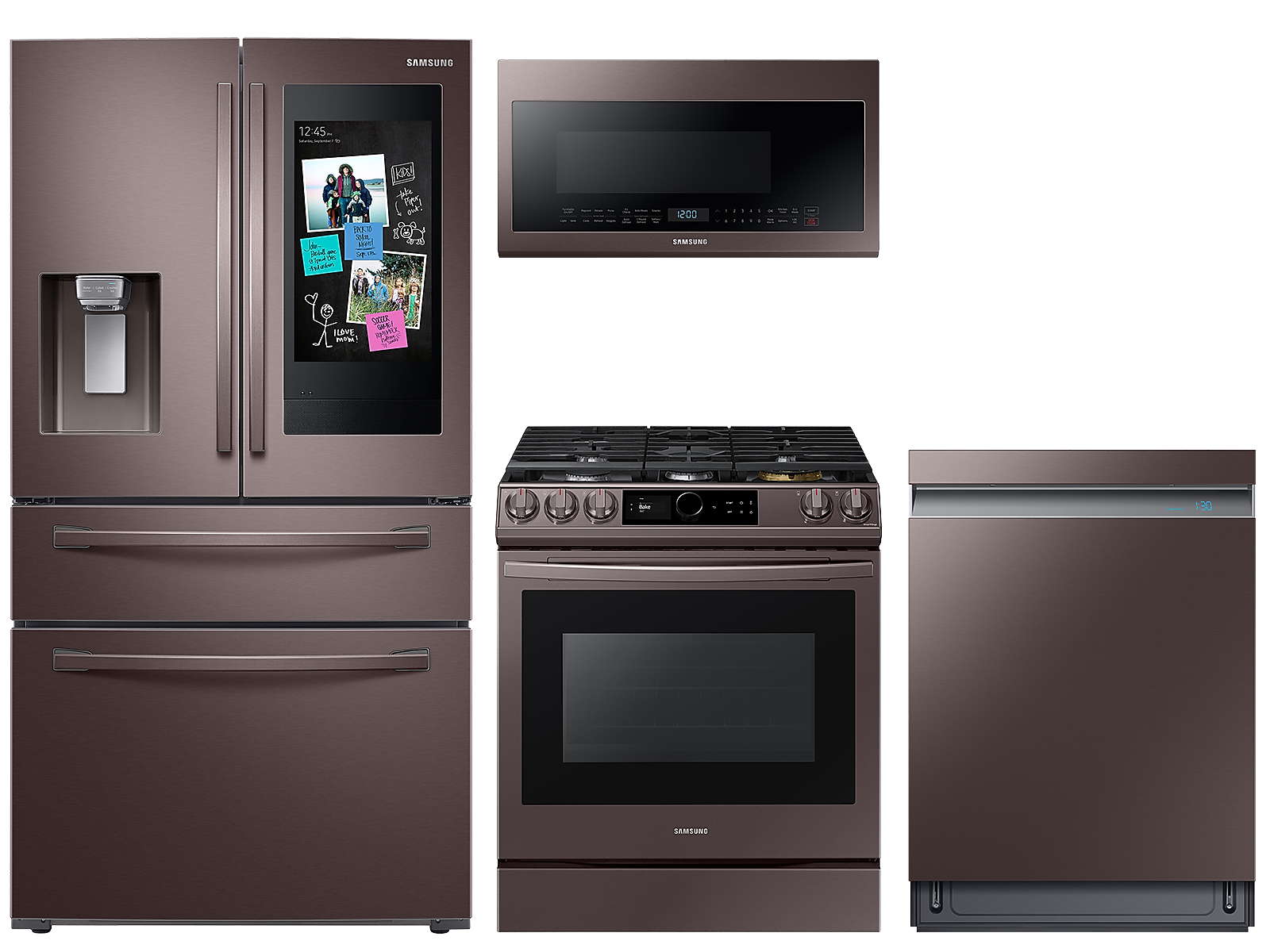 Samsung coupon: Samsung 22 cu. ft. counter depth 4-door Family HubTM refrigerator, gas range, 2.1 cu. ft. microwave and Smart Linear dishwasher package