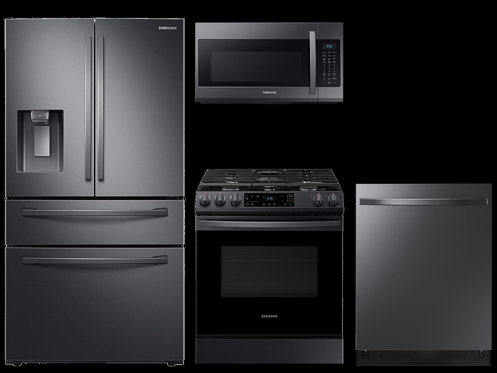 Samsung coupon: Samsung 28 cu. ft. 4-door refrigerator, gas range, microwave and 48 dBA modern-look dishwasher package(BNDL-1614026727646)
