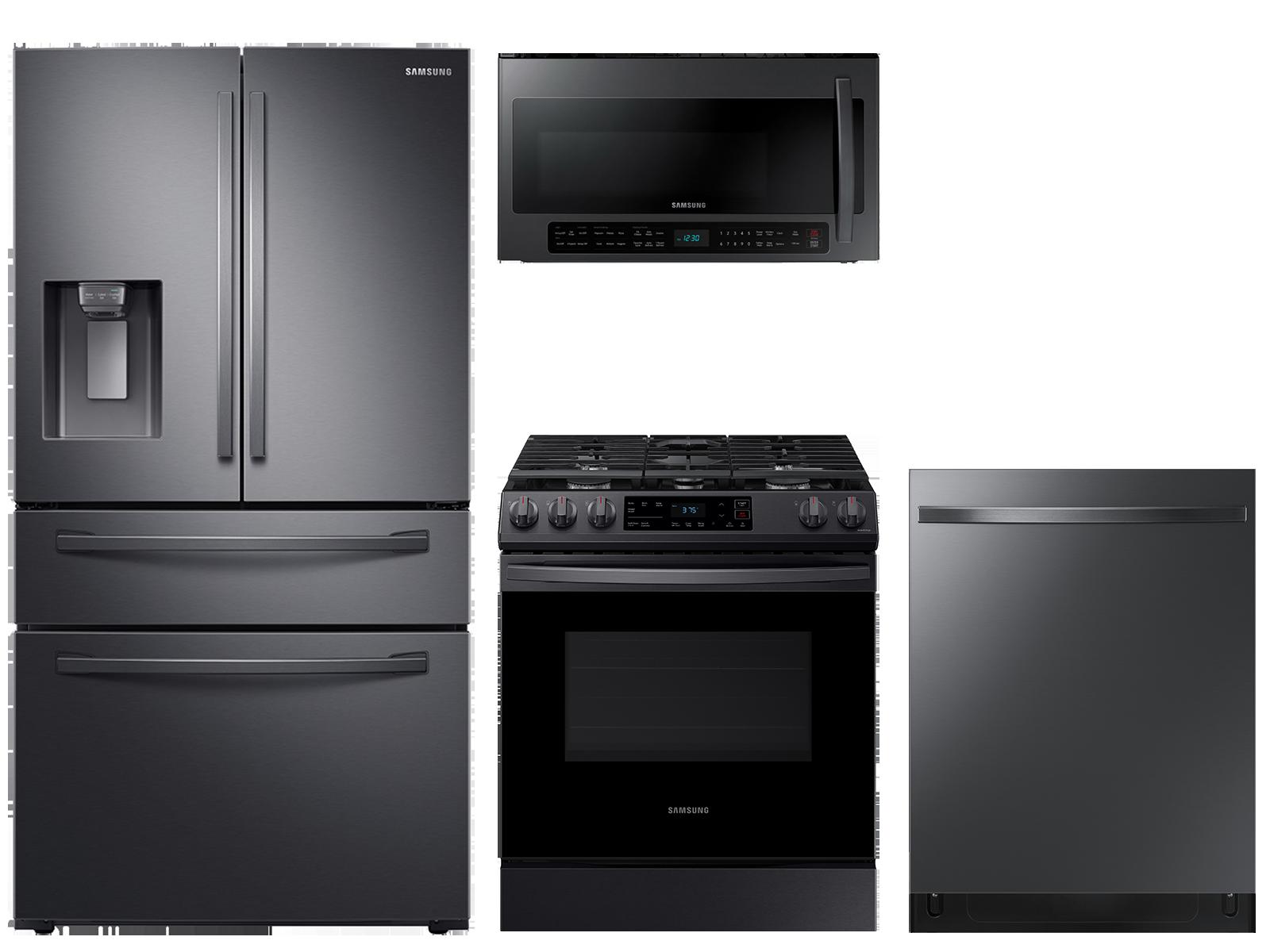 28 cu. ft. 4-door refrigerator, gas range, 2.1 cu. ft. microwave and 48 dBA modern-look dishwasher package