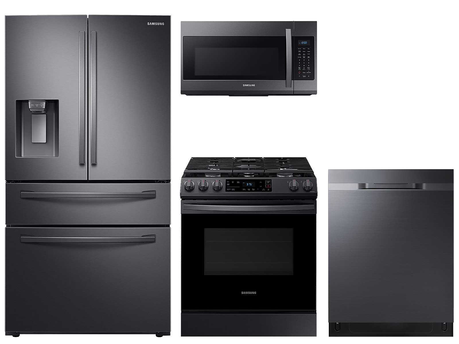 Samsung coupon: Samsung 23 cu. ft. counter depth 4-door refrigerator, gas range, microwave and 48 dBA dishwasher package(BNDL-1614028040810)