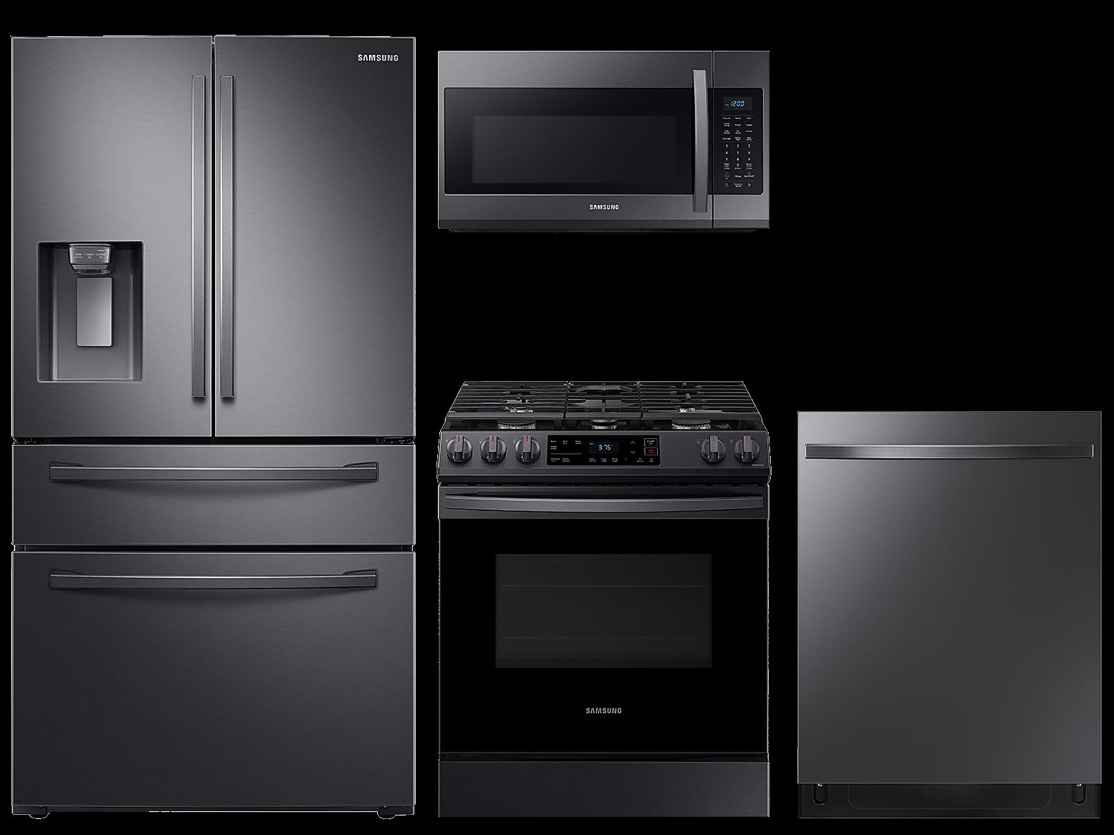 Samsung coupon: Samsung 23 cu. ft. counter depth 4-door refrigerator, gas range, microwave and 48 dBA modern-look dishwasher package(BNDL-1614028389122)