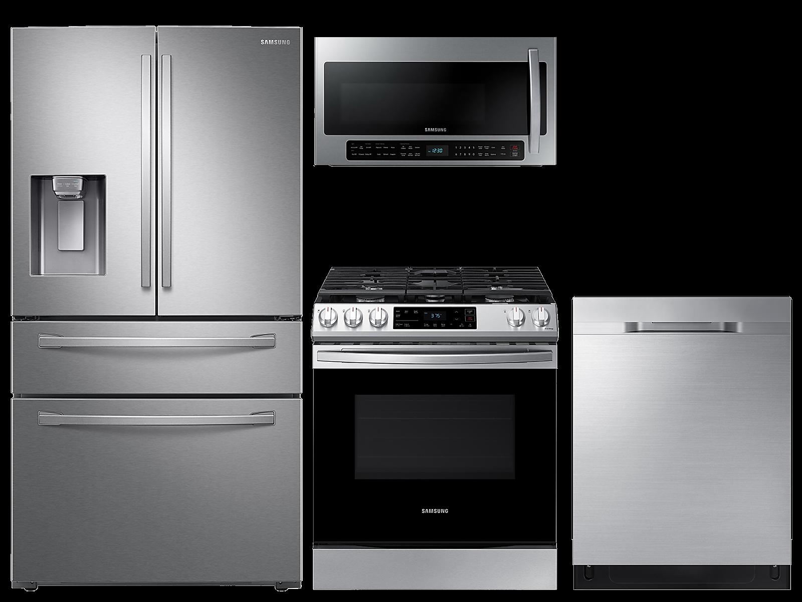 Samsung coupon: Samsung 28 cu. ft. 4-door refrigerator, gas range, 2.1 cu. ft. microwave and dishwasher package(BNDL-1612904217692)