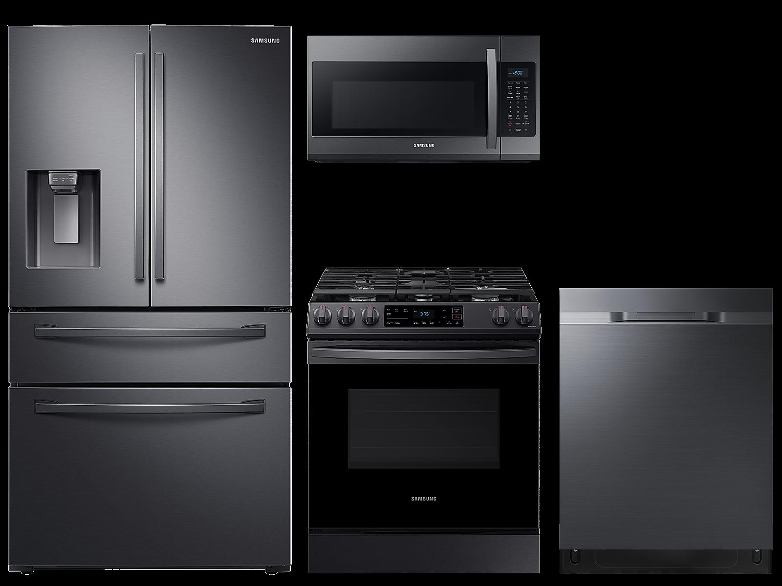 Samsung coupon: Samsung 23 cu. ft. counter depth 4-door refrigerator, gas range, 2.1 cu. ft. microwave and 48 dBA dishwasher package(BNDL-1614028719885)
