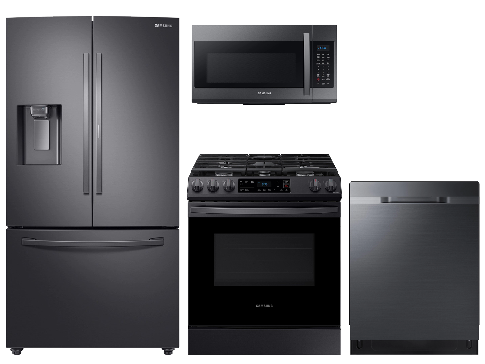 28 cu. ft. full-depth 3-door refrigerator, gas range, microwave and 48 dBA dishwasher package