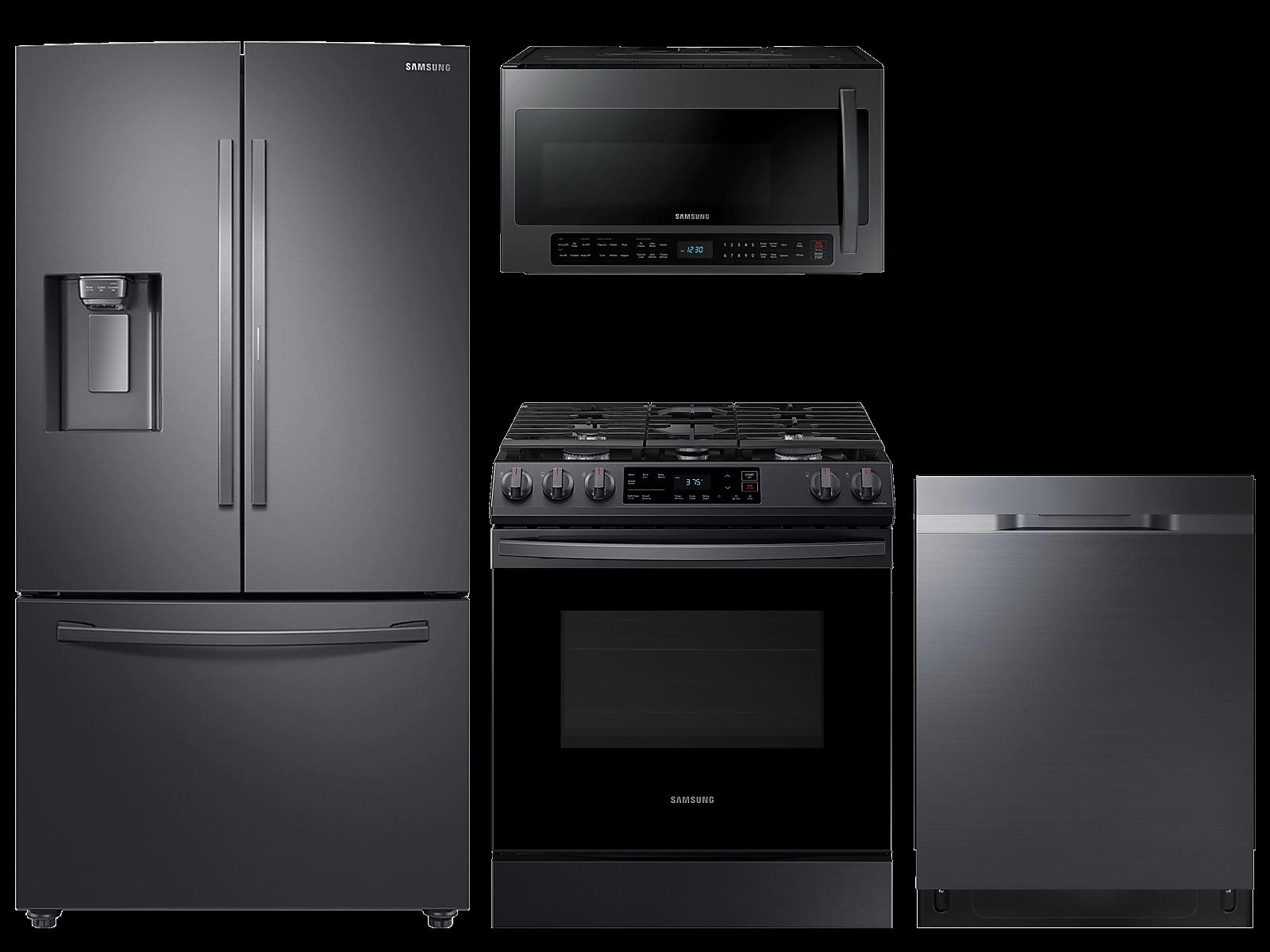 Samsung coupon: Samsung 28 cu. ft. full depth 3-door refrigerator, gas range, 2.1 cu. ft. microwave and 48 dBA dishwasher package(BNDL-1614626558667)