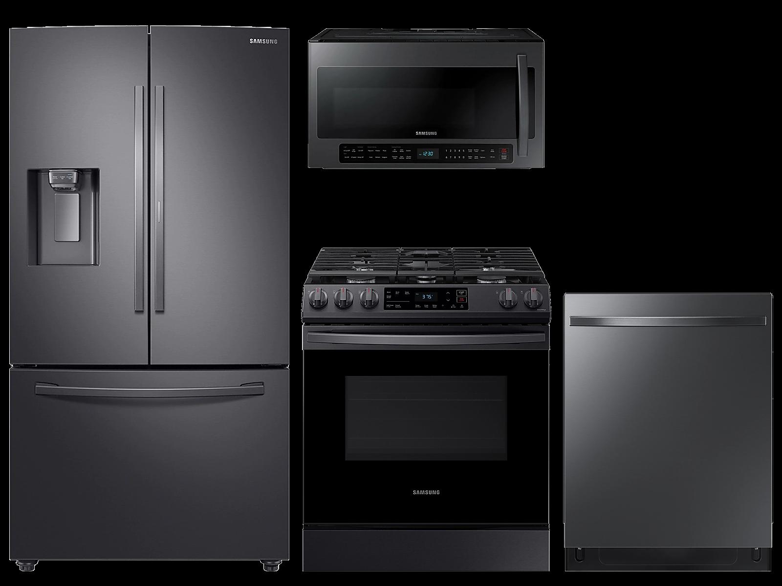 Samsung coupon: Samsung 28 cu. ft. full depth 3-door refrigerator, gas range, 2.1 cu. ft. microwave and 48 dBA modern-look dishwasher package(BNDL-1614628259525)