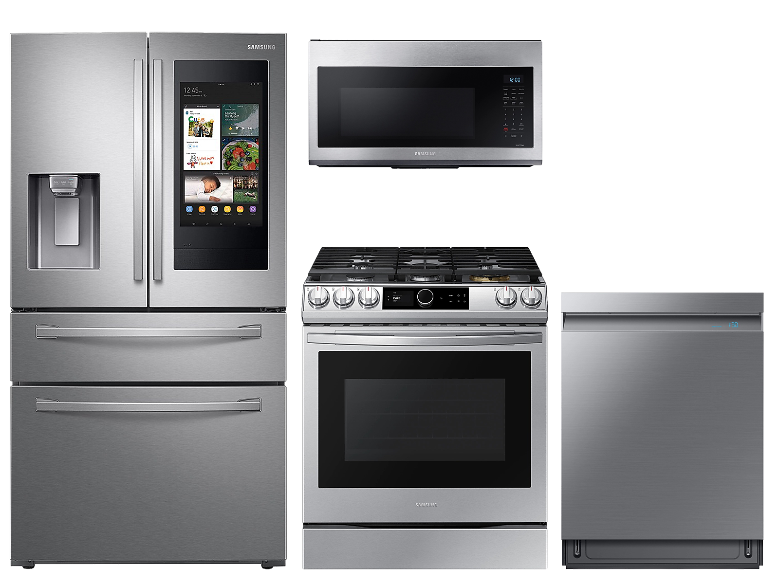 Samsung coupon: Samsung 28 cu. ft. Family HubTM 4-door refrigerator, gas range, microwave and Smart Linear dishwasher package(BNDL-1614632864478)