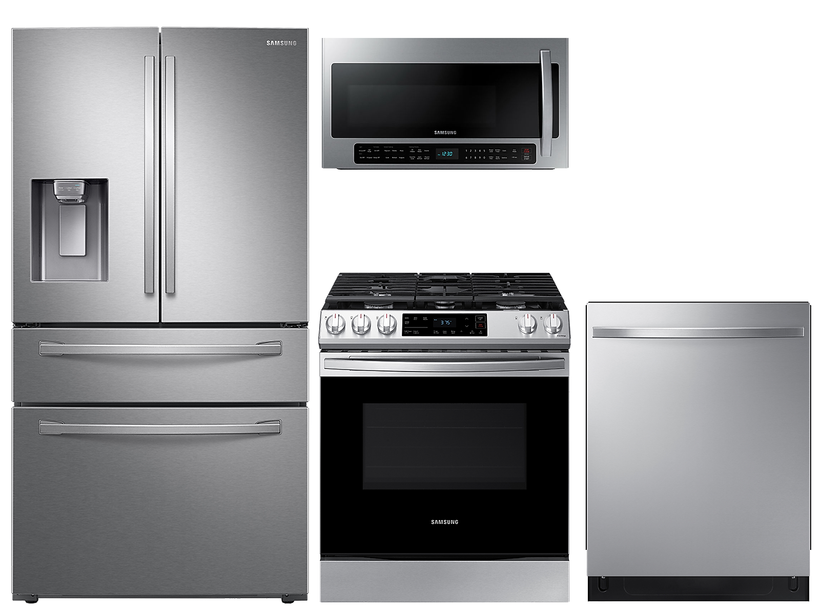 Samsung coupon: Samsung 28 cu. ft. 4-door refrigerator, gas range, 2.1 cu. ft. microwave and modern-look dishwasher package(BNDL-1612910285883)