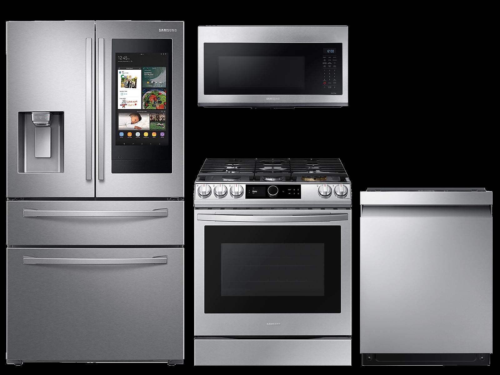 Samsung coupon: Samsung 28 cu. ft. Family HubTM 4-door refrigerator, gas range, microwave and 42 dBA dishwasher package(BNDL-1614633194949)