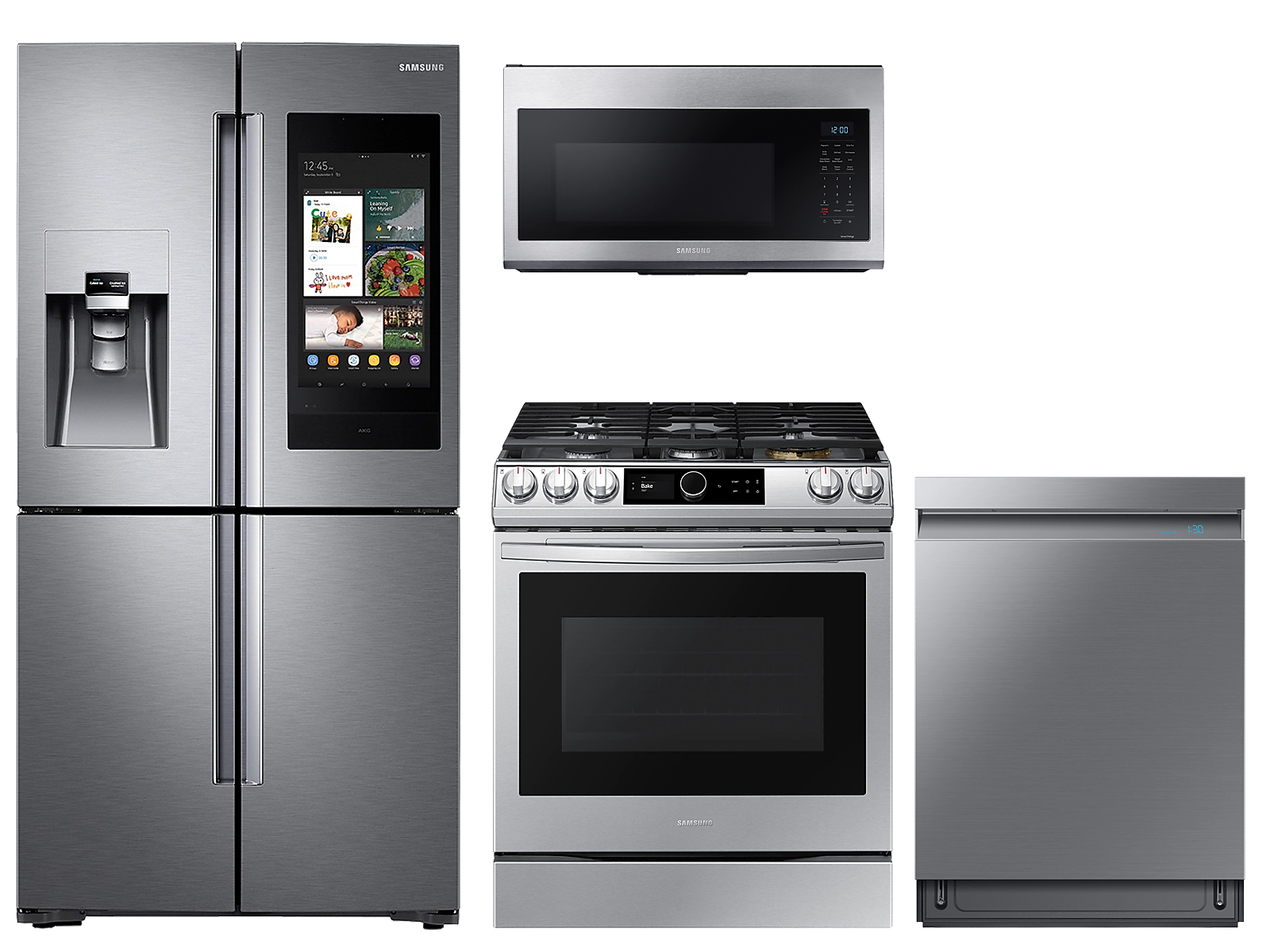 Samsung coupon: Samsung 22 cu. ft. Family HubTM counter depth 4-door refrigerator, gas range, microwave and Smart Linear dishwasher package(BNDL-1614702835384)