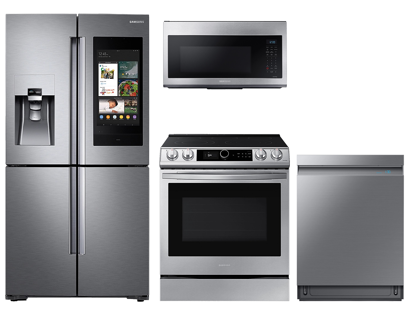 Samsung coupon: Samsung 22 cu. ft. Family HubTM counter depth 4-door refrigerator, 6.3 cu. ft. electric range, microwave and Smart Linear dishwasher package