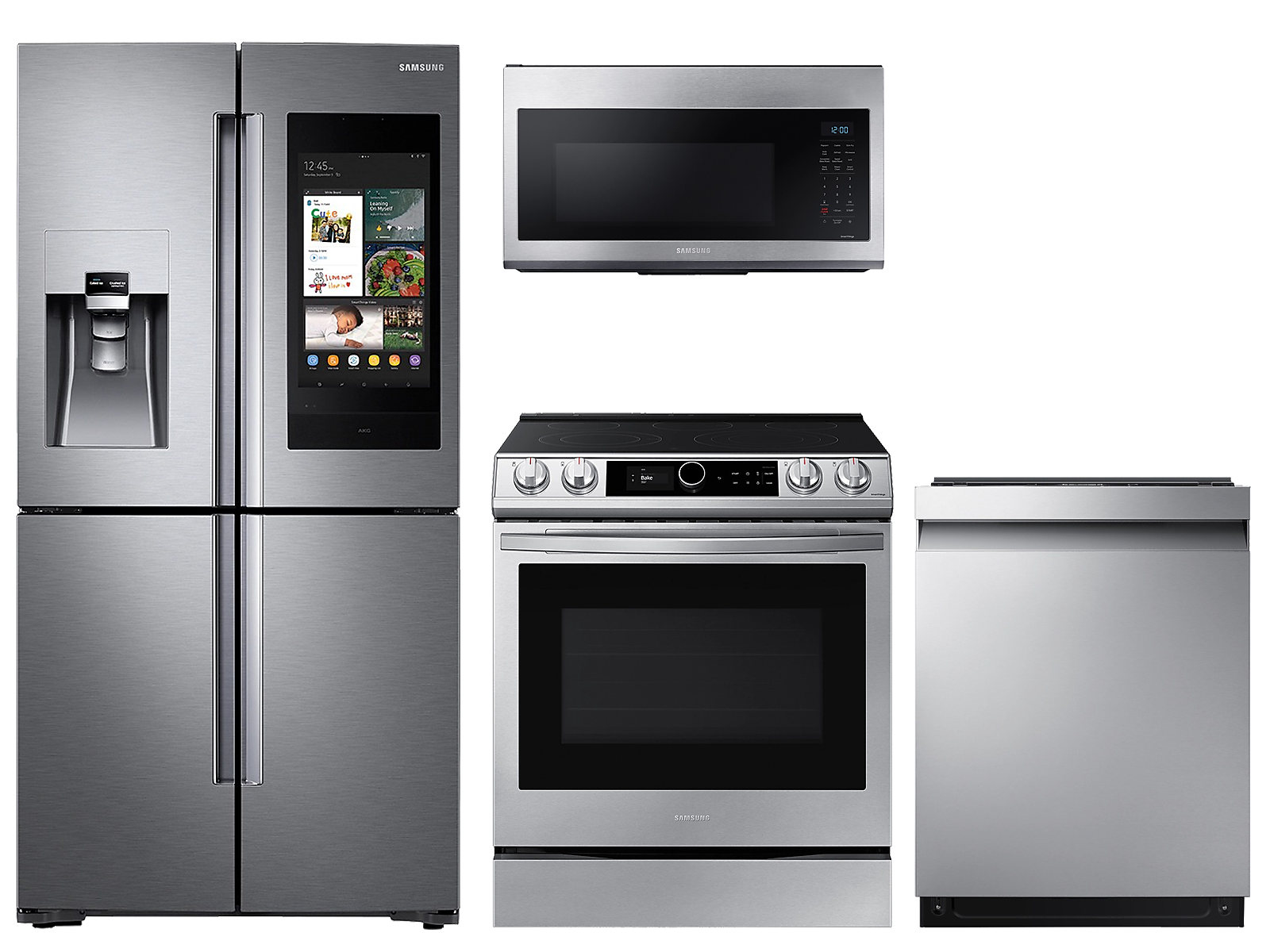 Samsung coupon: Samsung 22 cu. ft. Family HubTM counter depth 4-door refrigerator, 6.3 cu. ft. electric range, microwave and 42 dBA dishwasher package