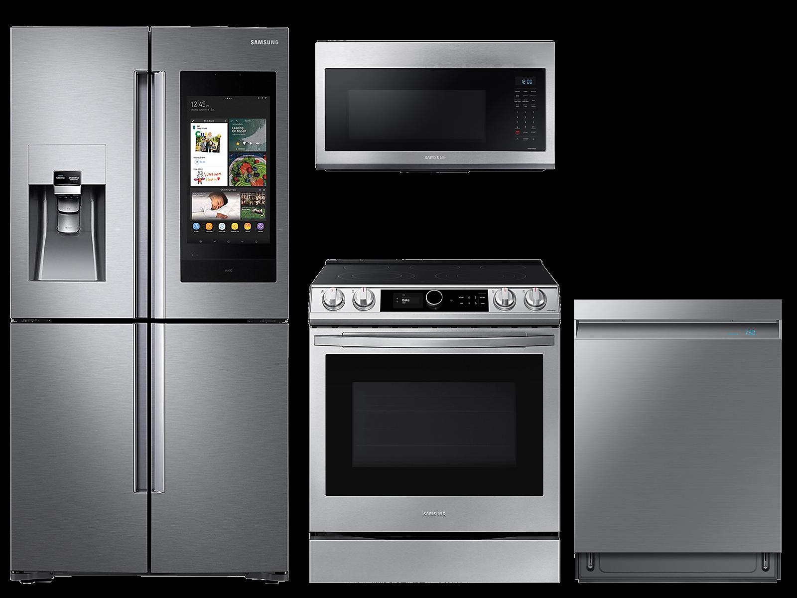Samsung coupon: Samsung 28 cu. ft. Family HubTM 4-door refrigerator, 6.3 cu. ft. electric range, microwave and Smart Linear dishwasher package(BNDL-1614704148481)