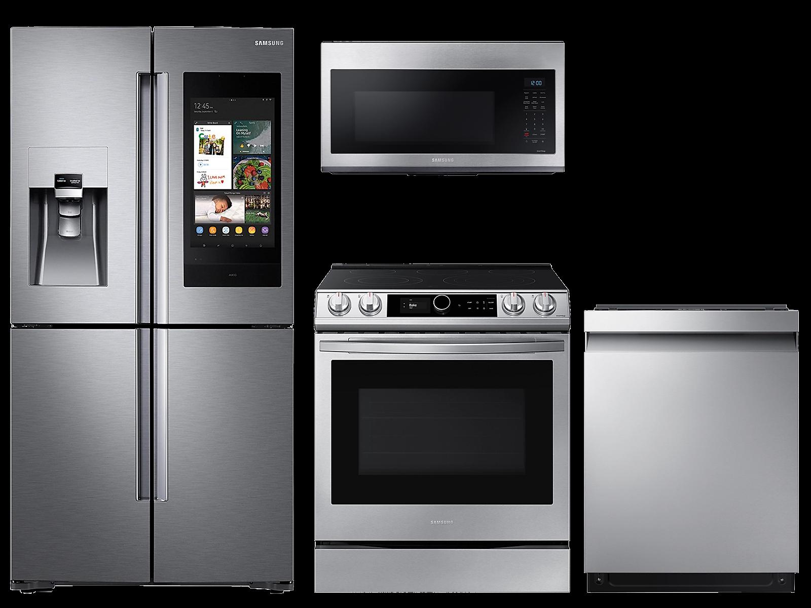 Samsung coupon: Samsung 28 cu. ft. Family HubTM 4-door refrigerator, 6.3 cu. ft. electric range, microwave and 42 dBA dishwasher package(BNDL-1614704416676)