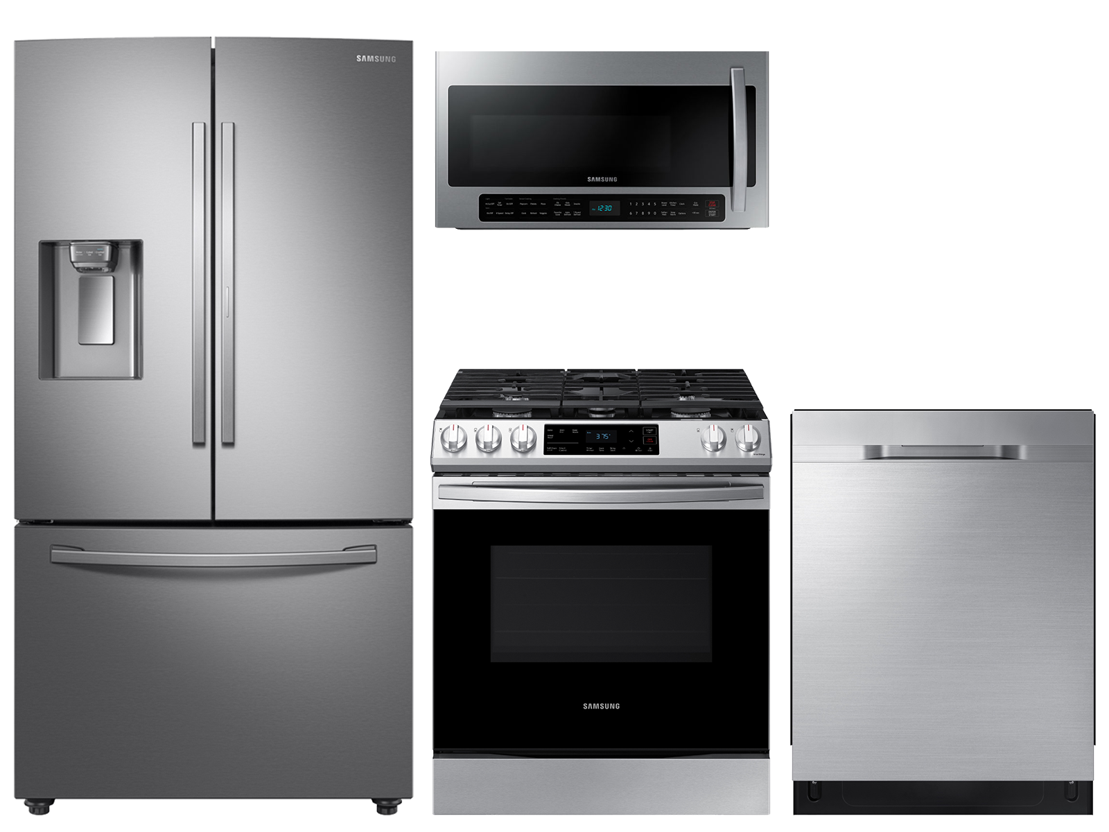 28 cu. ft. full depth 3-door refrigerator, gas range, 2.1 cu. ft. microwave and dishwasher package