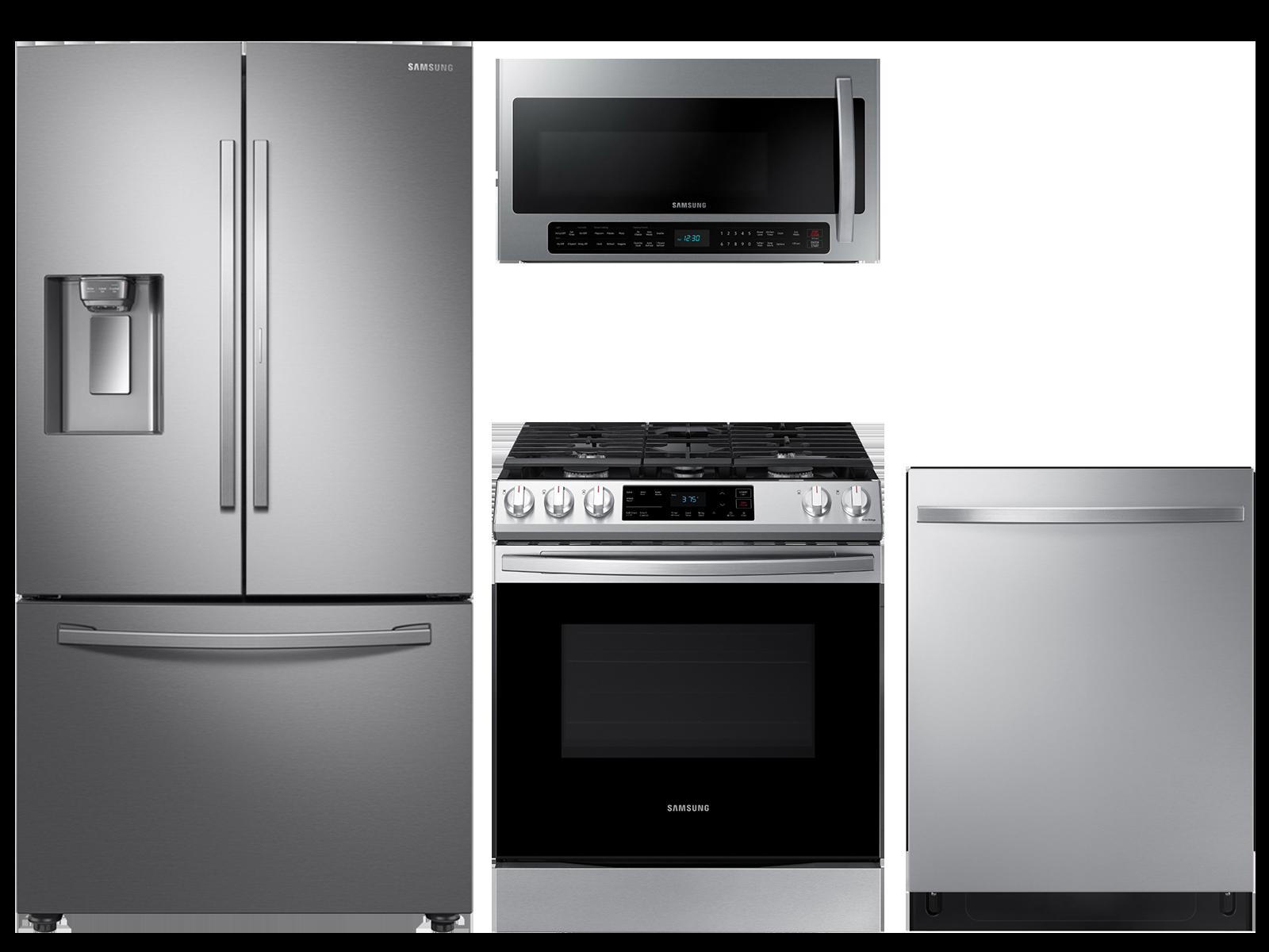 28 cu. ft. full depth 3-door refrigerator, gas range, 2.1 cu. ft. microwave and modern-look dishwasher package