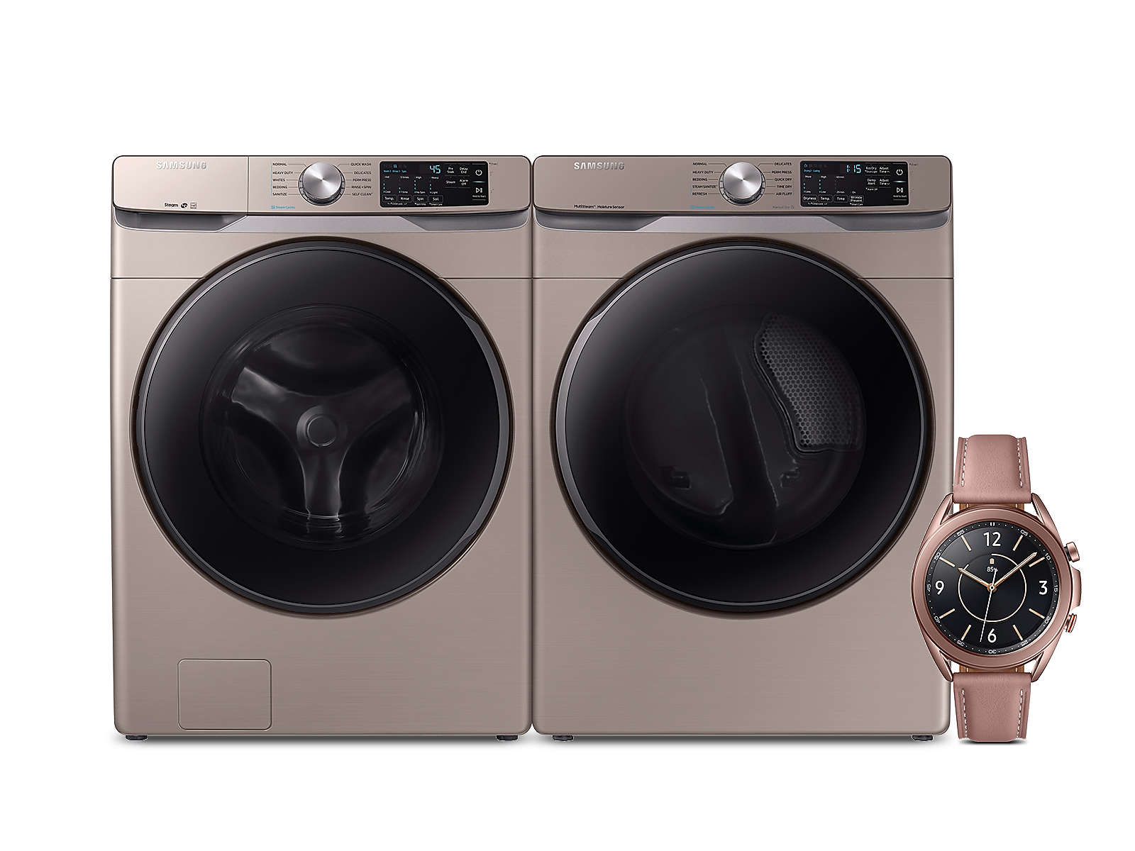 Samsung coupon: Samsung 4.5 cu. ft. Front Load Washer, 7.5 cu. ft. Steam Sanitize+ Dryer and 41mm Galaxy Watch3 Premium Package