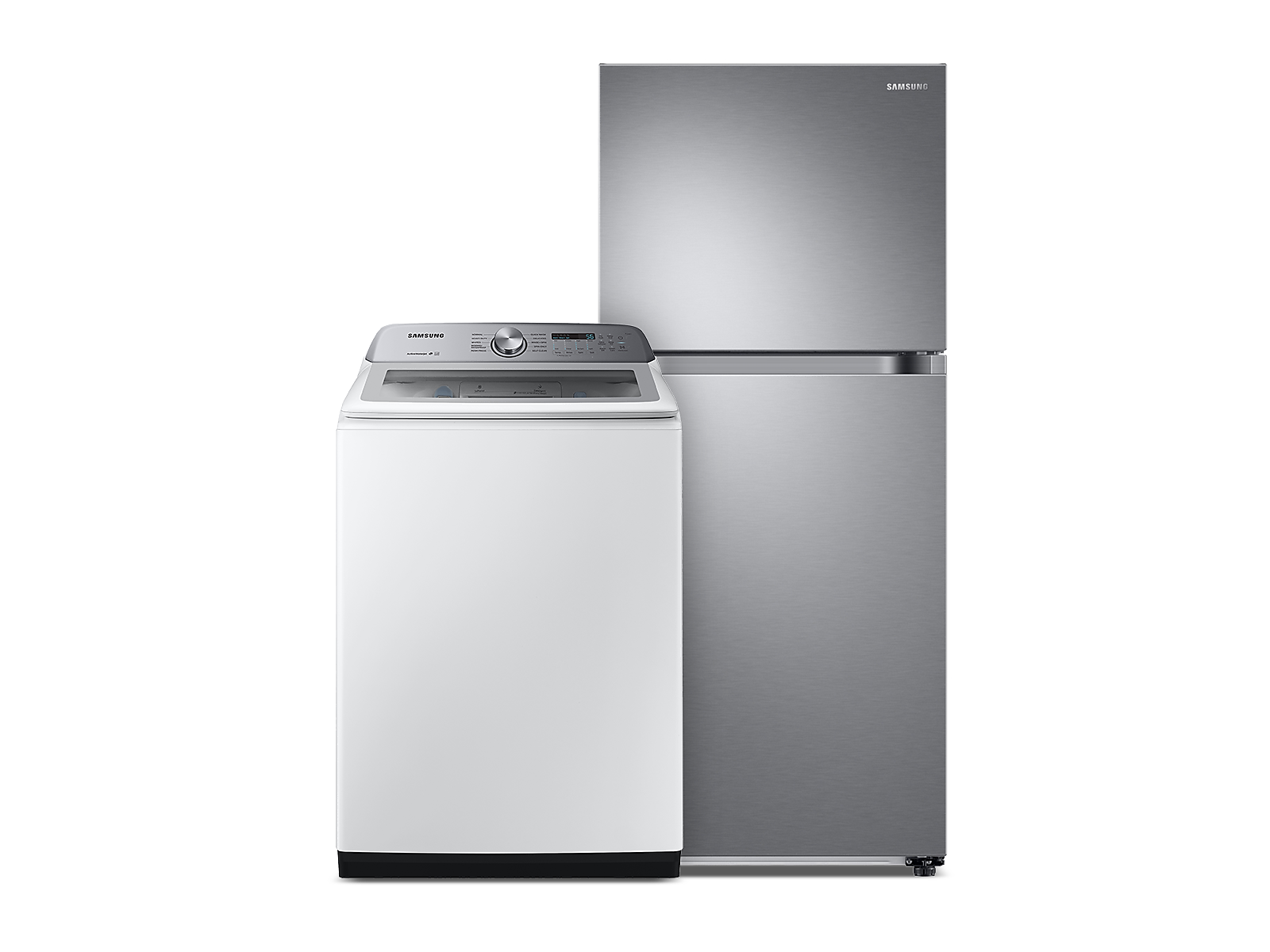 Samsung coupon: Samsung Large Capacity Top Load Washer with Active WaterJet & Top Freezer Refrigerator with FlexZone and Ice Maker