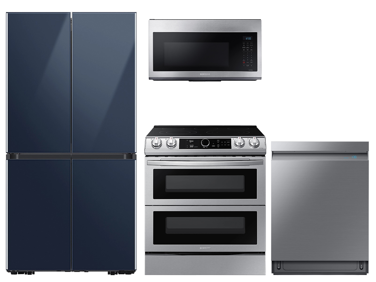 Samsung coupon: Samsung 23 cu. ft. Counter Depth BESPOKE 4-Door FlexTM Refrigerator in Navy Blue Glass
