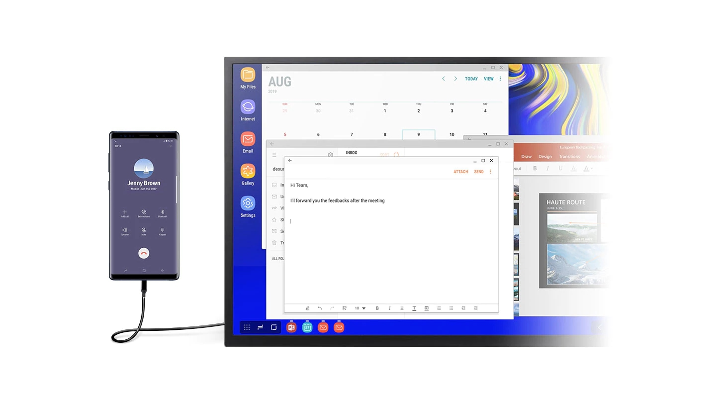 A monitor in DeX mode with multiple windows open onscreen, including Calendar, Email, and Microsoft PowerPoint. A smartphone showing the call screen is connected to a monitor using the DeX Cable.