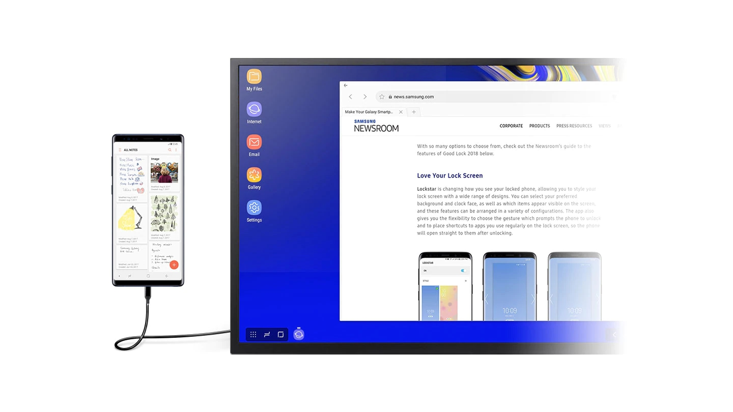 A monitor in DeX mode with the browser open onscreen. A smartphone with the Samsung Notes app onscreen is connected to a monitor using the DeX Cable.