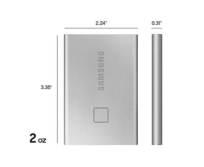 Samsung Portable External SSD T7 TOUCH USB 3.2, Silver and Black 20