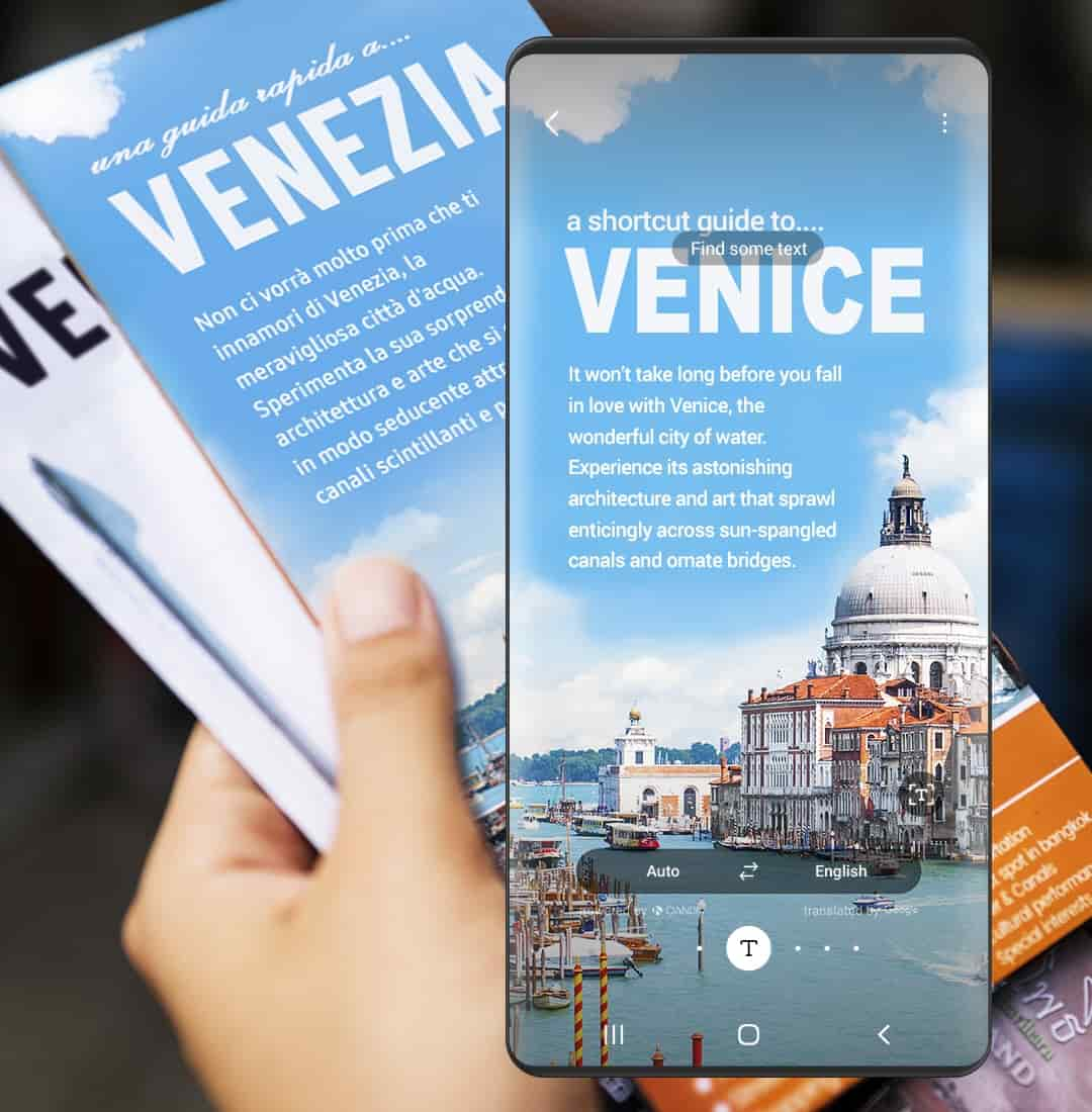The left hand holding a Venice Public Relations Brochure, written in Italian. It overlapped with Bixby Vision showing the English translation of the brochure.