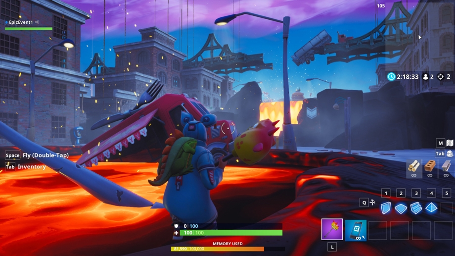 In-game shot of a players trekking through a river of lava in the new Fortnite Creative island