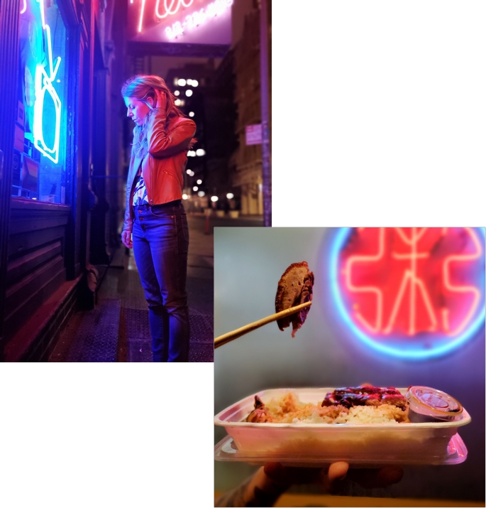 lady standing in front of a neon sign shop, a close-up shot of chinese takeout held up against a neon light