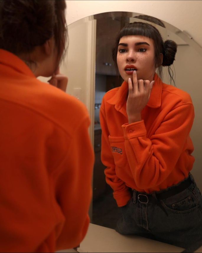 Lil Miquela dressed in a bright orange top and dark jeans leaning in and looking at herself in the mirror