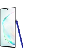 A single product shot showing a slightly tilted side view of a Galaxy Note10 with a blue S Pen leaning on it