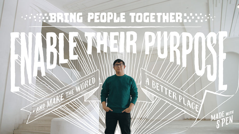 "The Co-Founder of Twitch and Gold House standing with his hands in his pockets while facing the camera. There is handwriitten script overlayed on top of the photo and all around him that reads: ""Bring people together. Enable ther purpose and make the world a better place. Made with S Pen""."