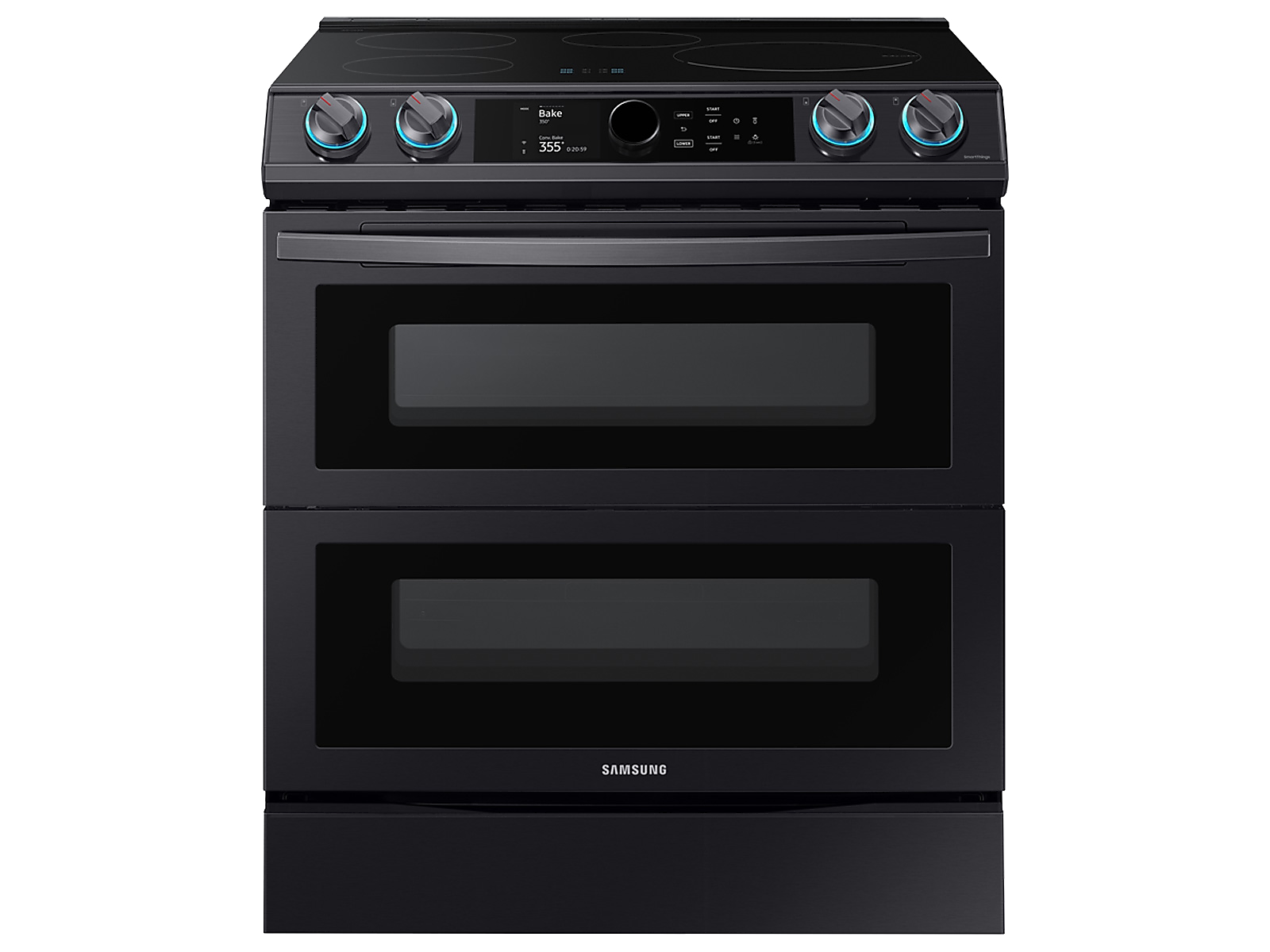 Samsung 6.3 cu. ft. Smart Slide-induction Range with Flex Duo™, Smart Dial & Air Fry in Black Stainless Steel(NE63T8951SG/AA)