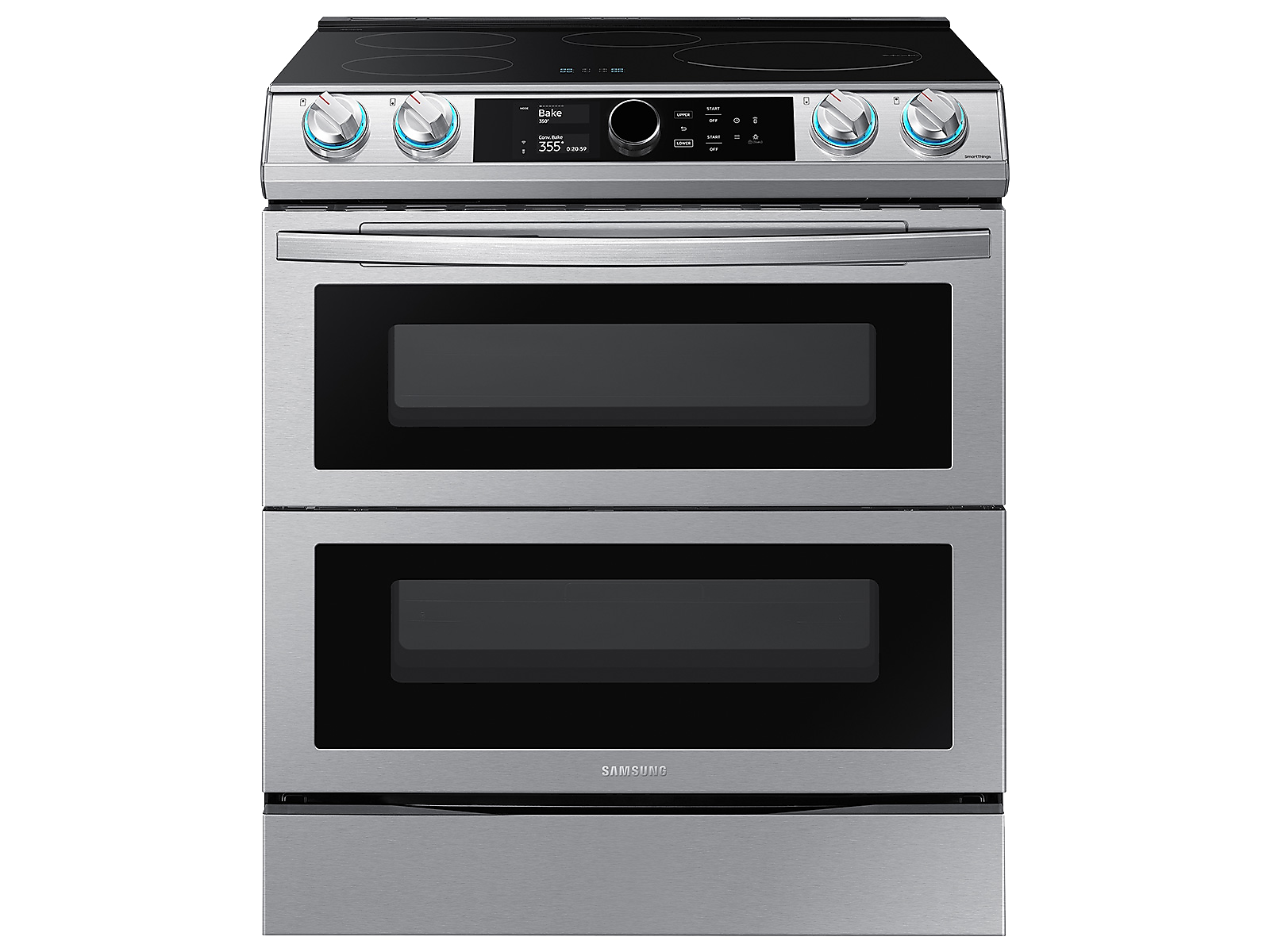 Samsung 6.3 cu. ft. Smart Slide-induction Range with Flex Duo™, Smart Dial & Air Fry in Silver(NE63T8951SS/AA)