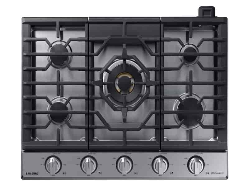 "30"" Chef Collection Gas Cooktop with 22K BTU Dual Power Burner in Stainless Steel"