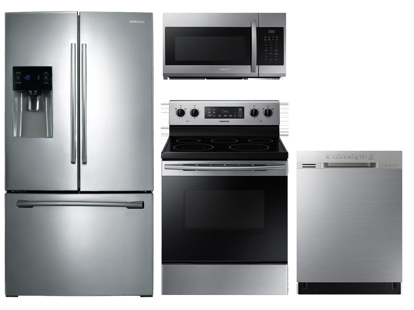 Samsung 3-door Refrigerator + Freestanding Electric Range + Dishwasher + Microwave Kitchen Package in Stainless Steel