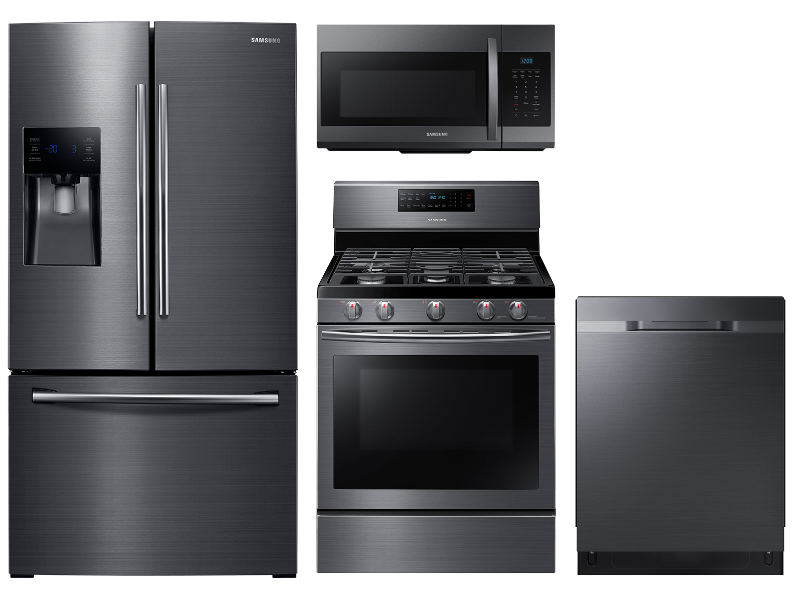 Samsung 3-door Refrigerator with Family Hub + Gas Range + StormWash Dishwasher + Microwave Kitchen Package in Black Stainless