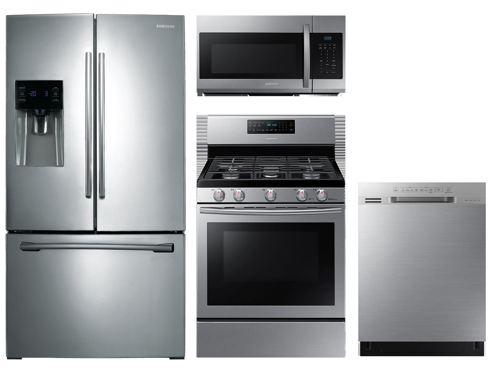 Samsung 3-door Refrigerator + Freestanding Gas Range + Dishwasher + Microwave Kitchen Package in Stainless Steel