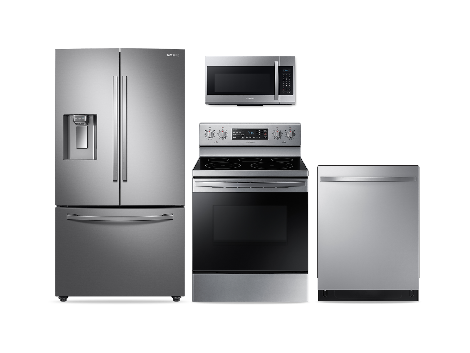 Samsung coupon: Samsung Large Capacity 3-door Refrigerator + Electric Range + StormWash Dishwasher + Microwave Kitchen Package in Stainless Steel