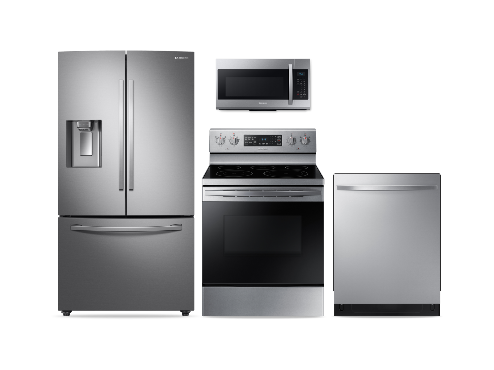 Samsung Large Capacity 3-door Refrigerator + Electric Range + StormWash Dishwasher + Microwave Kitchen Package in Stainless Steel