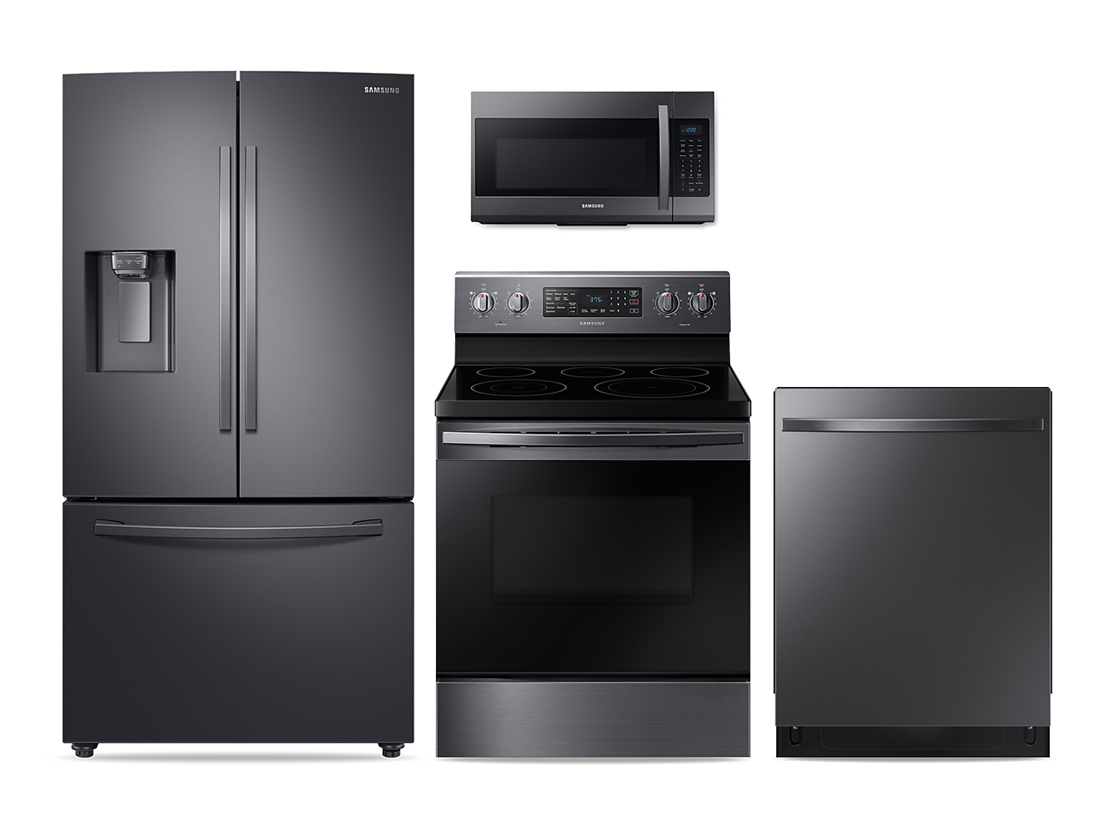 Samsung coupon: Samsung Large Capacity 3-door Refrigerator + Electric Range + StormWash Dishwasher + Microwave Kitchen Package in Black Stainless(BNDL-1572441962958)
