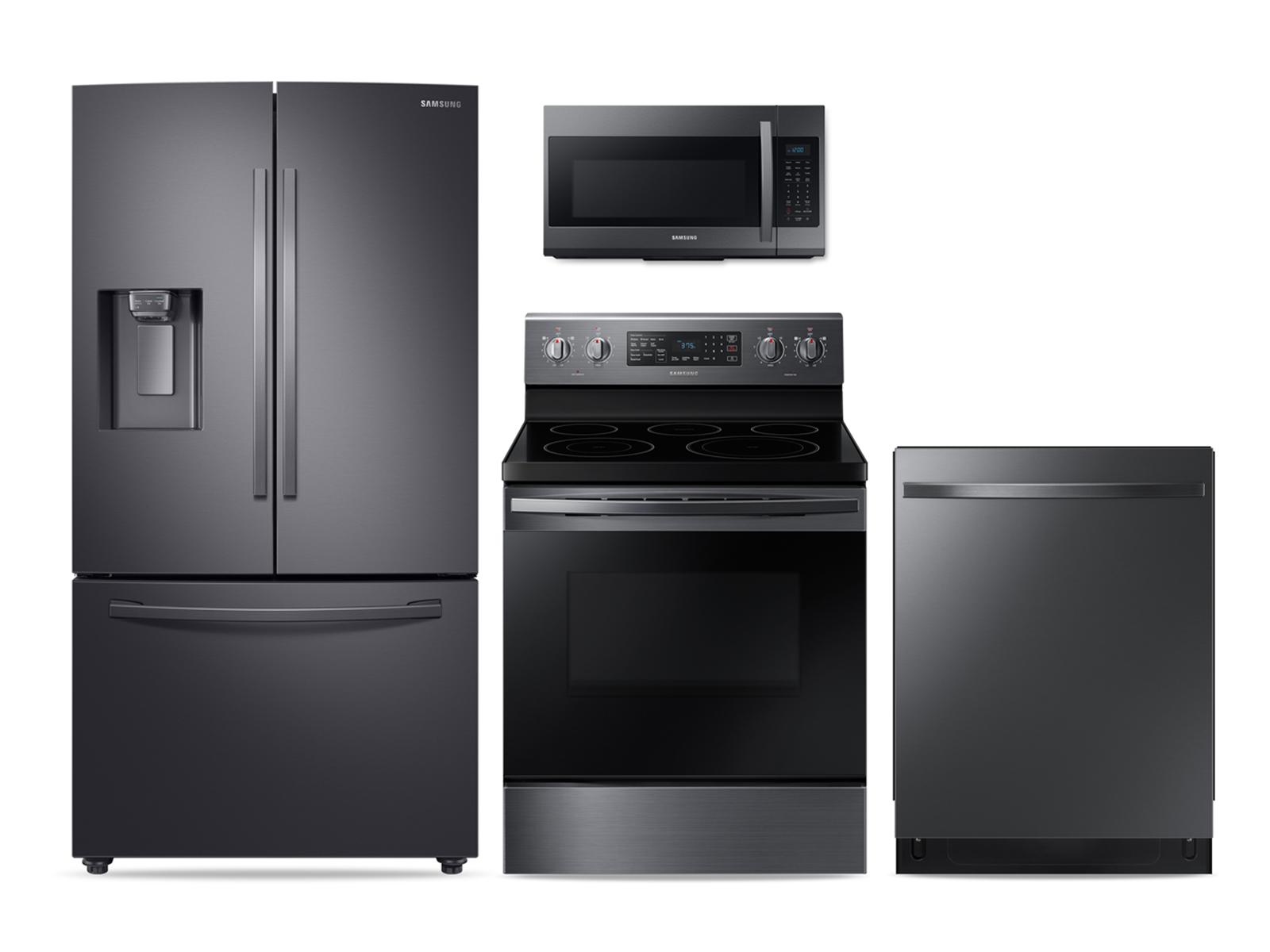 Samsung Large Capacity 3-door Refrigerator + Electric Range + StormWash Dishwasher + Microwave Kitchen Package in Black Stainless
