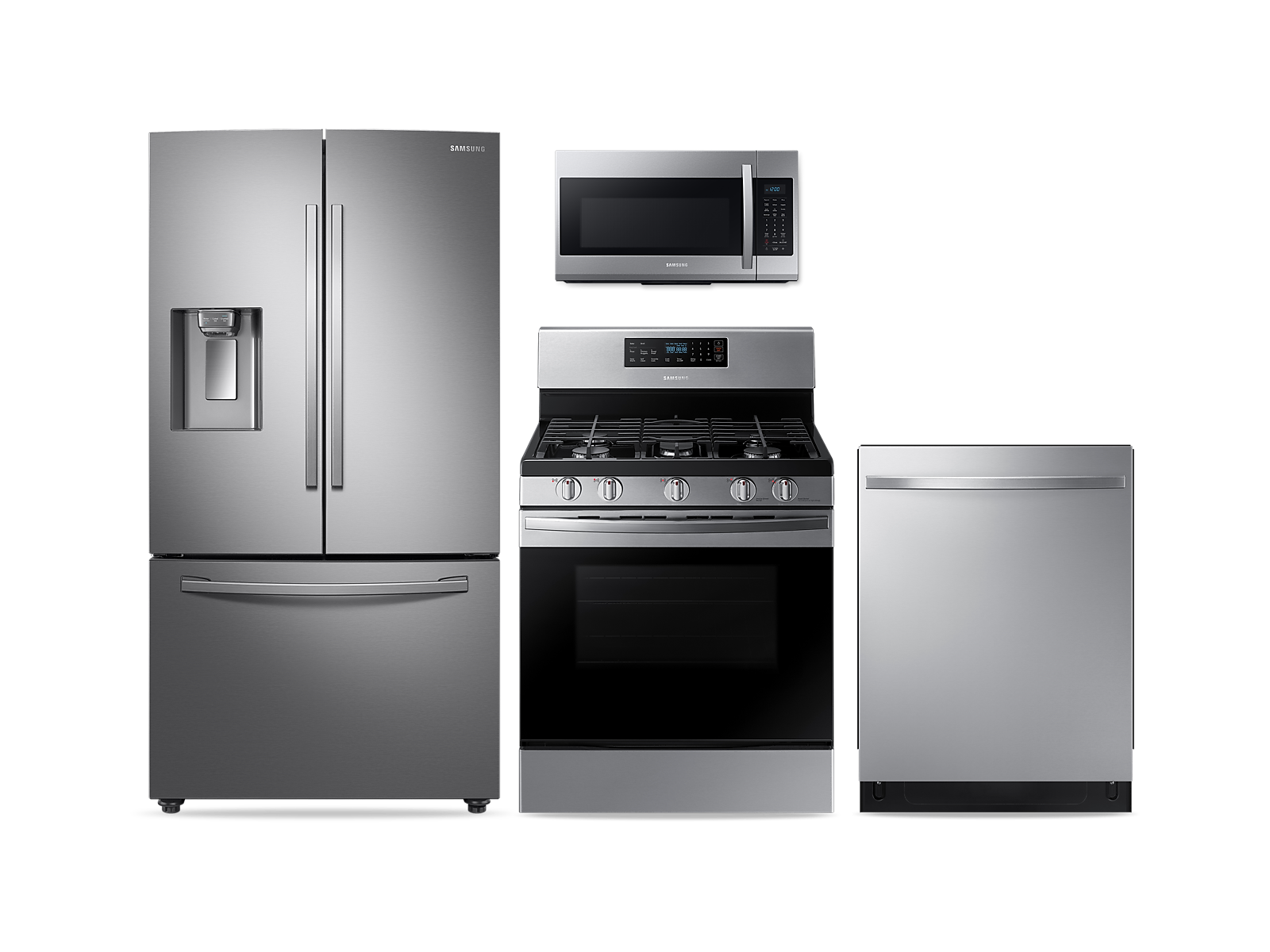 Samsung coupon: Samsung Large Capacity 3-door Refrigerator + Gas Range + StormWash Dishwasher + Microwave Kitchen Package in Stainless Steel(BNDL-1572442239622)