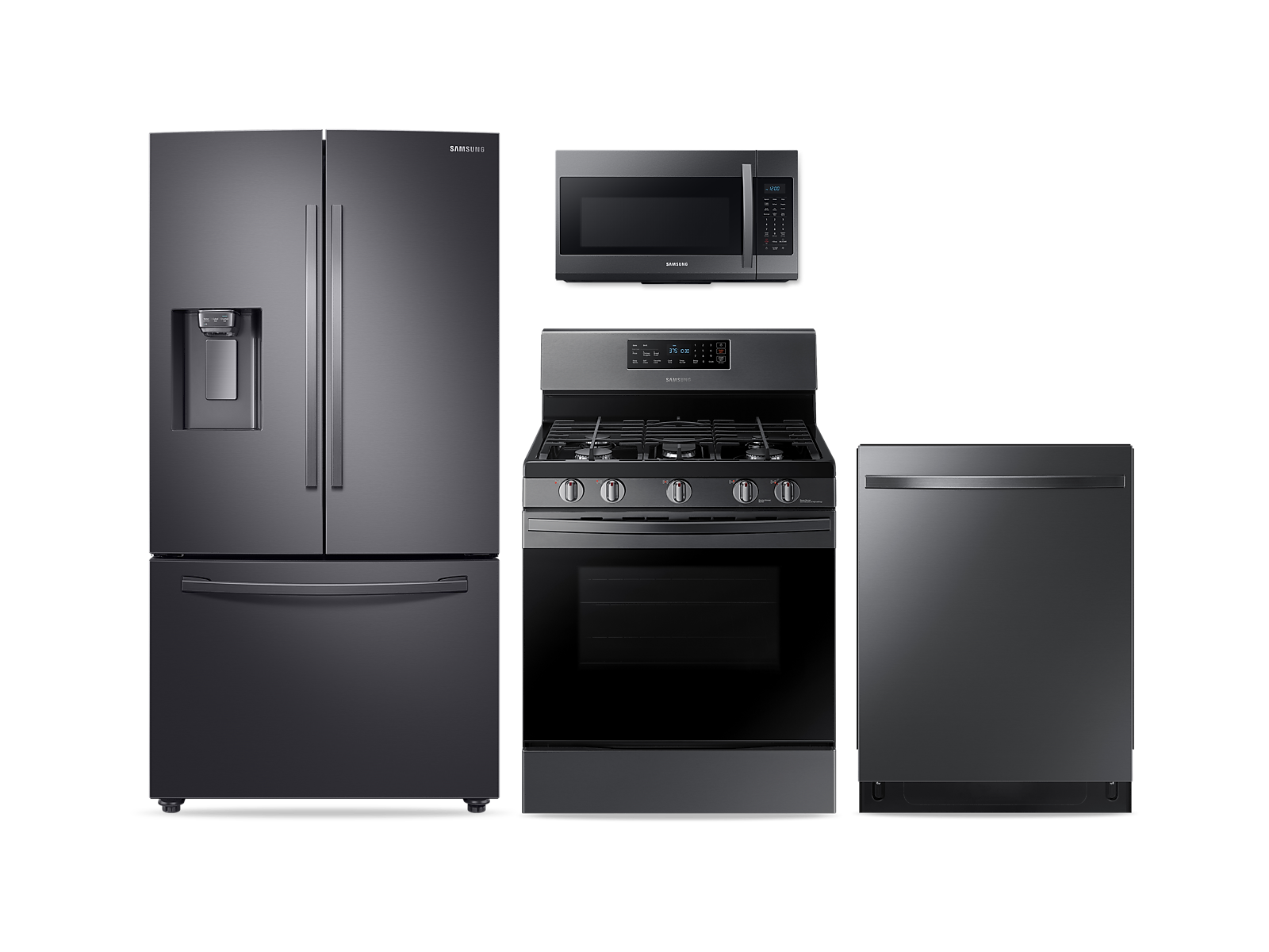 Samsung coupon: Samsung Large Capacity 3-door Refrigerator + Gas Range + StormWash Dishwasher + Microwave Kitchen Package in Black Stainless(BNDL-1572441513414)
