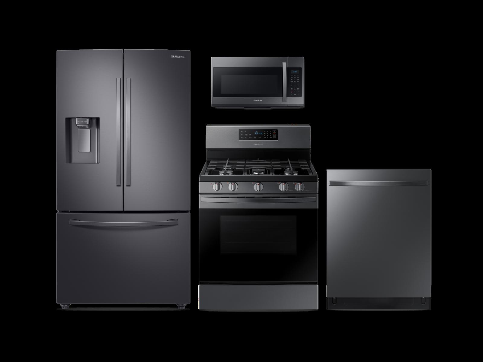 Samsung Large Capacity 3-door Refrigerator + Gas Range + StormWash Dishwasher + Microwave Kitchen Package in Black Stainless