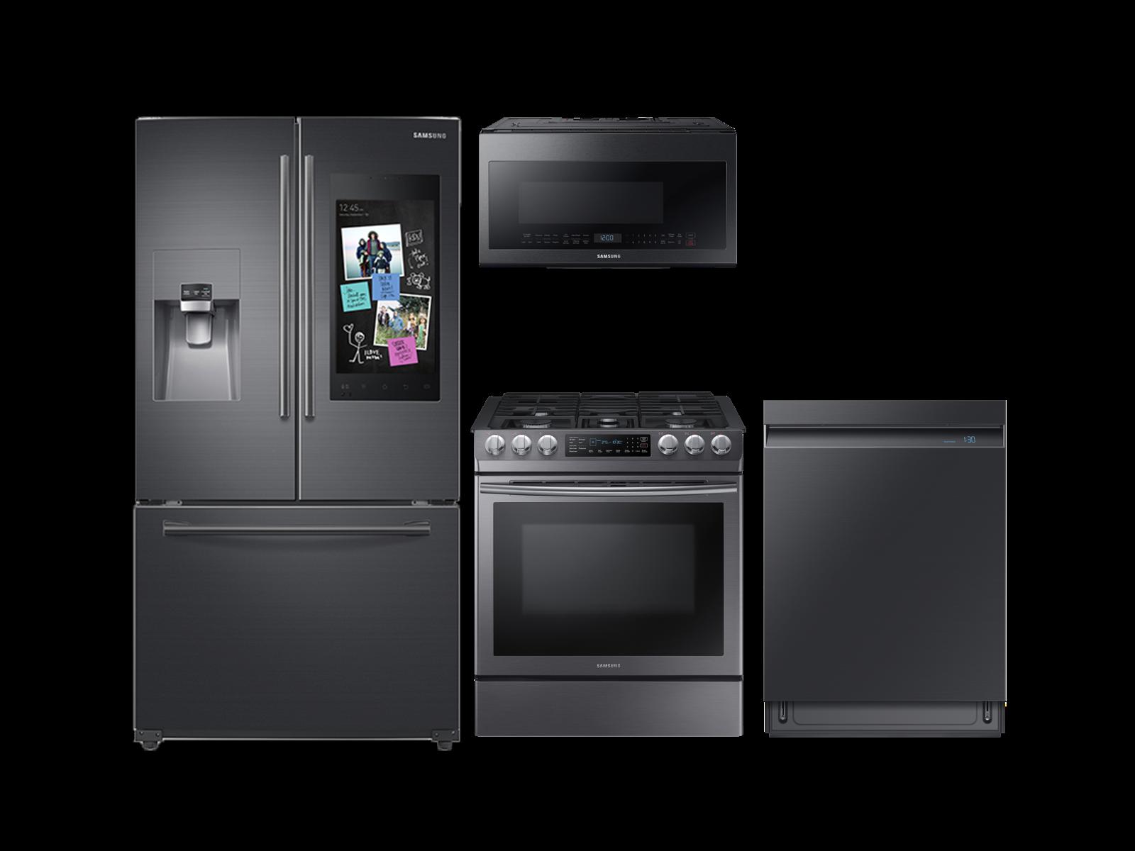 Samsung 3-door Family Hub Refrigerator + Slide-In Gas Range + Linear Wash Dishwasher + Microwave Kitchen Package in Black Stainless