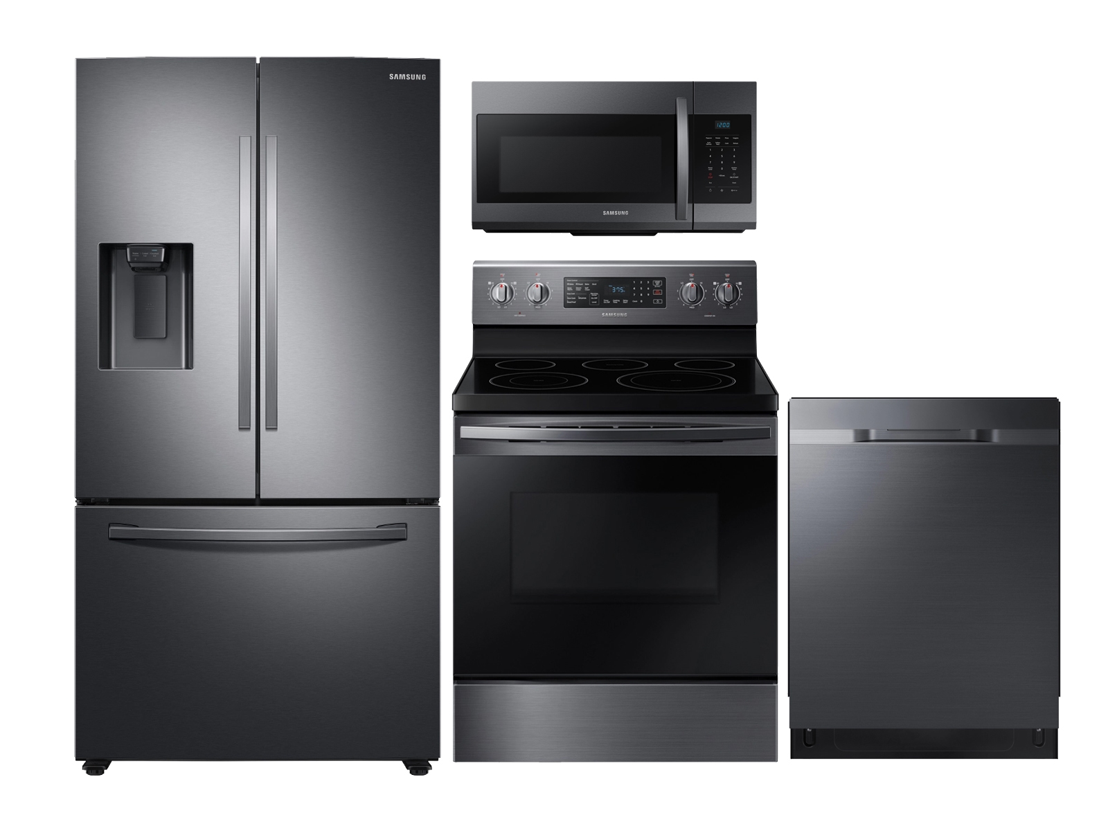 Samsung Large Capacity 3-door Refrigerator + Electric Range + StormWash Dishwasher + Microwave in Black Stainless Steel